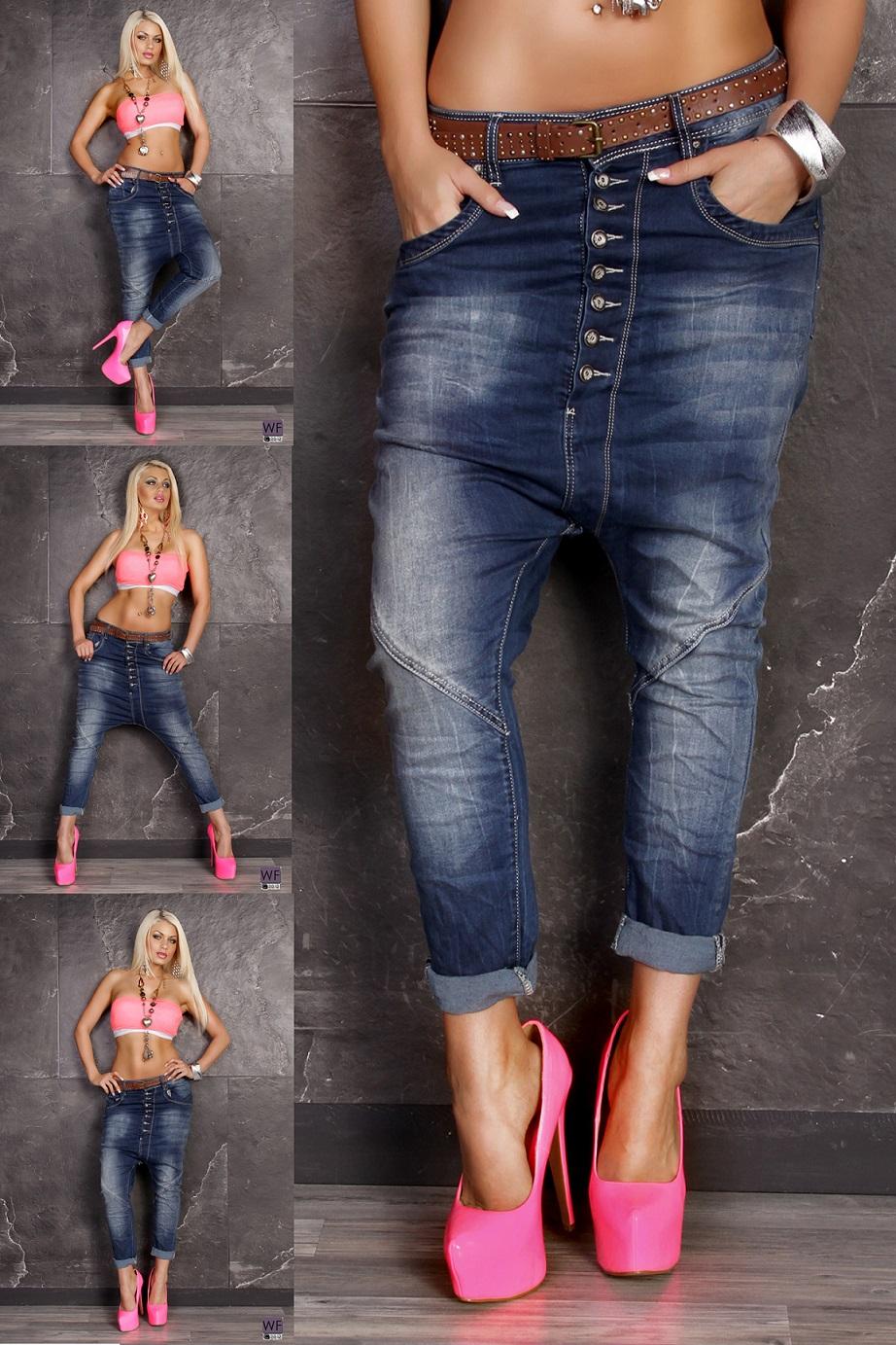 damen boyfriend baggy jeans mit kn pfen harem haremshose. Black Bedroom Furniture Sets. Home Design Ideas
