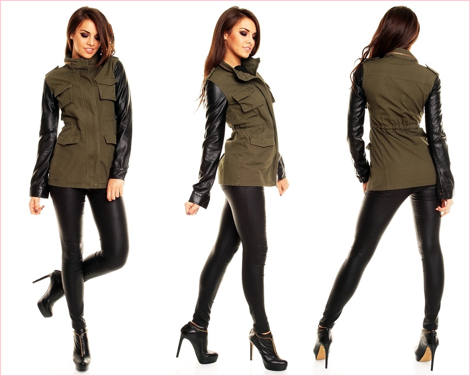 ladies jacket with leather sleeves transition jacket. Black Bedroom Furniture Sets. Home Design Ideas